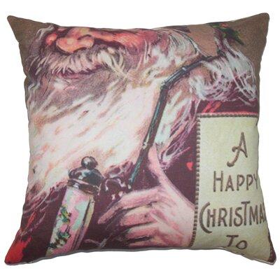 Holiday Vintage Happy Santa Natural Throw Pillow