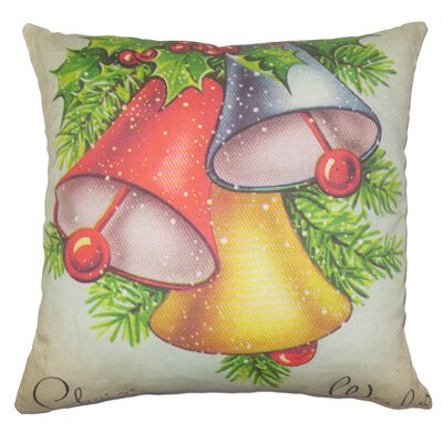 Holiday Vintage Bells Natural Throw Pillow