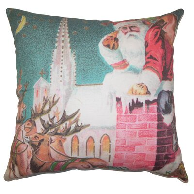 Holiday Vintage Santa Chimney Natural Throw Pillow