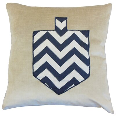 Hanukah Chevron Dreidel Velvet Throw Pillow