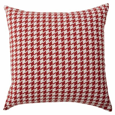Presley Houndstooth Throw Pillow Color: Red, Size: 18 x 18
