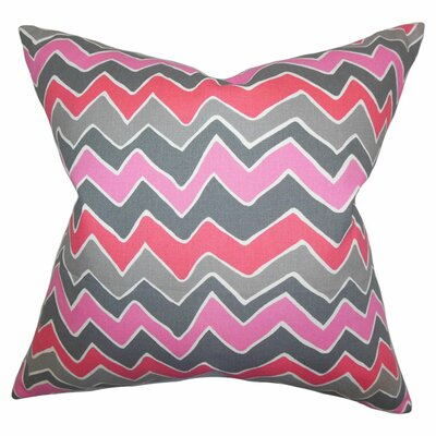 Achsah Zigzag Cotton Throw Pillow Color: Pink Gray, Size: 18 x 18