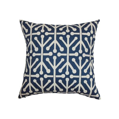 Heath Cotton Throw Pillow Color: Blue, Size: 18 x 18
