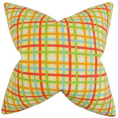 Manon Plaid Cotton Throw Pillow Color: Lemon, Size: 18 x 18