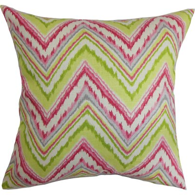 Dayana Zigzag Cotton Throw Pillow Color: Pink/Green, Size: 18 x 18