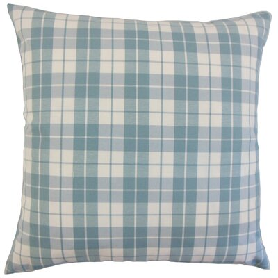 Joss Plaid Cotton Throw Pillow Color: Sea, Size: 18 x 18