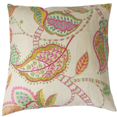 Mazatl Linen Throw Pillow Color: Pink, Size: 18 x 18