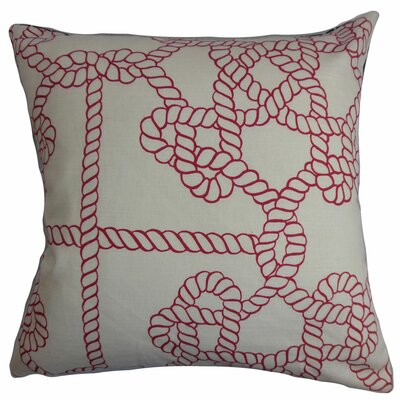 Accalia Cotton Throw Pillow Color: Natural / Red, Size: 18 x 18