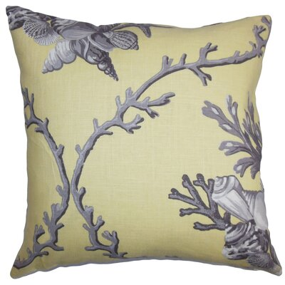 Maj Coastal Throw Pillow Cover Color: Yellow Gray