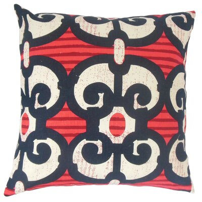 Boyana Cotton Throw Pillow Color: Red, Size: 18 x 18