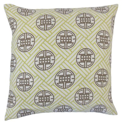 Delit Geometric Bedding Sham Size: Euro, Color: Lime