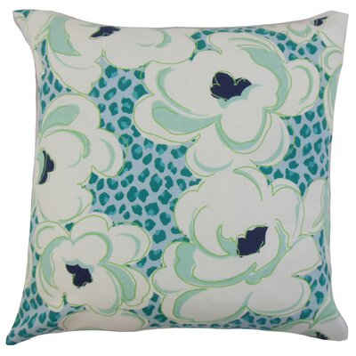 Ohara Floral Throw Pillow Cover Color: Aquamarine