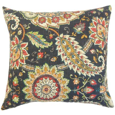 Harum Floral Throw Pillow Color: Black, Size: 22 x 22