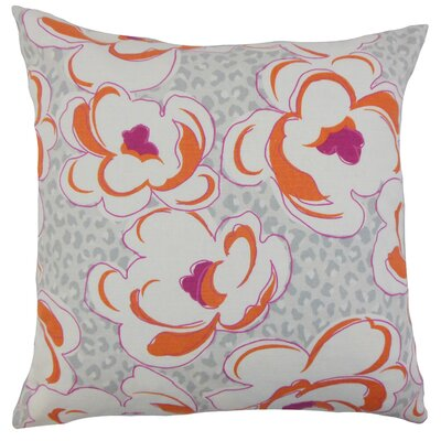 Ohara Floral Throw Pillow Cover Color: Tangerine