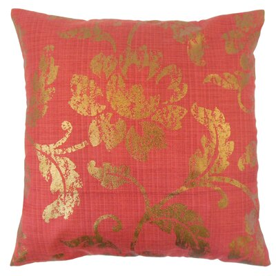 Berdine Floral Throw Pillow Color: Red, Size: 18 x 18