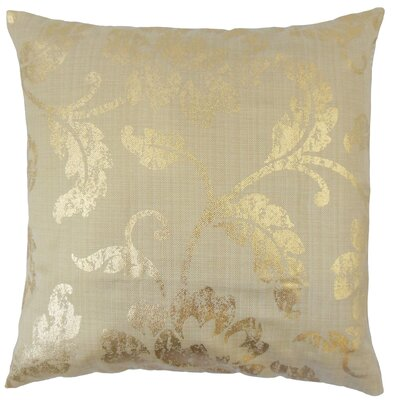 Berdine Floral Throw Pillow Color: Gold, Size: 18 x 18