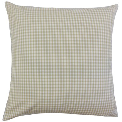Keats Cotton Throw Pillow Color: Beige, Size: 18 x 18