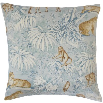 Ender Graphic Linen Throw Pillow Color: Blue, Size: 18 x 18
