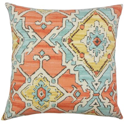 Helia Ikat Bedding Sham Size: Euro, Color: Papaya