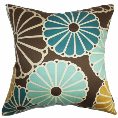 Gisela Cotton Throw Pillow Color: Turquoise / Brown, Size: 24 x 24