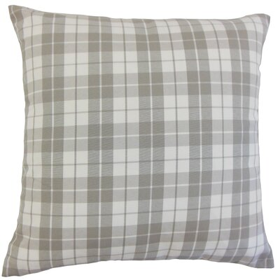 Joss Plaid Cotton Throw Pillow Color: Slate, Size: 18 x 18