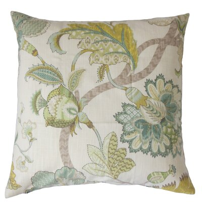 Chancery Floral Cotton Throw Pillow Color: Aqua, Size: 18 x 18