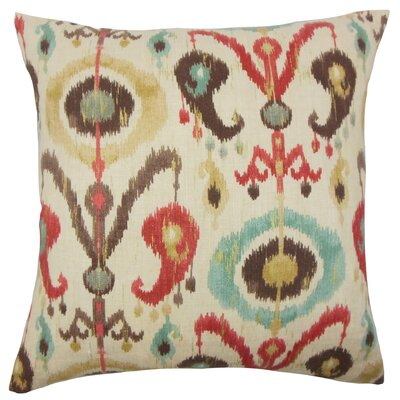 IKEA� Ikat Cotton Throw Pillow Color: Copper, Size: 18 x 18