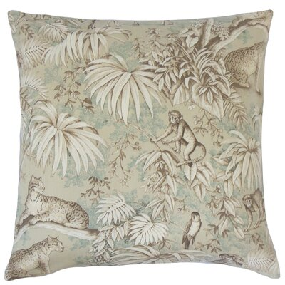 Ender Graphic Linen Throw Pillow Color: Saddle, Size: 18 x 18