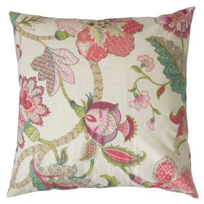 Juhani Floral Cotton Throw Pillow Color: Rose, Size: 18 x 18
