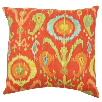 IKEA� Ikat Cotton Throw Pillow Color: Flame, Size: 18 x 18