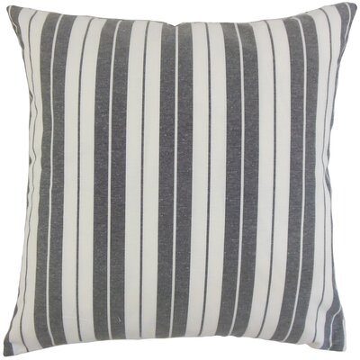 Henley Cotton Throw Pillow Color: Black, Size: 18 x 18
