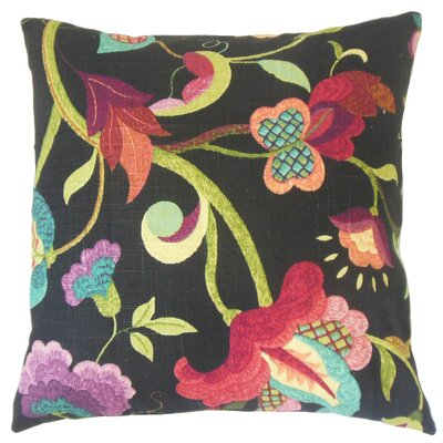 Salem Floral on Black Background Bedding Sham Size: Euro