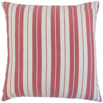 Henley Cotton Throw Pillow Color: Red, Size: 18 x 18