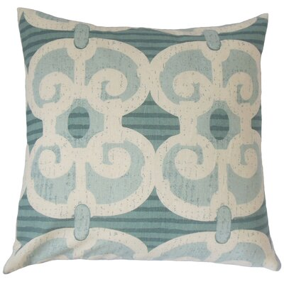 Boyana Cotton Throw Pillow Color: Aqua, Size: 18 x 18