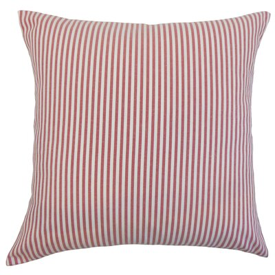 Ira Cotton Throw Pillow Color: Red, Size: 18 x 18