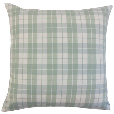 Joss Plaid Cotton Throw Pillow Color: Aqua, Size: 24