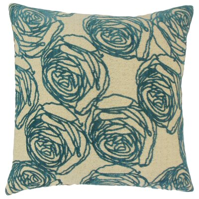 Ilaria Floral Throw Pillow Color: Teal, Size: 18 x 18