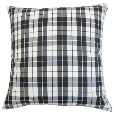 Joss Plaid Cotton Throw Pillow Color: Black, Size: 24 x 24
