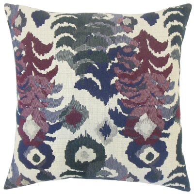 Henriette Ikat Cotton Throw Pillow Cover Color: Berry