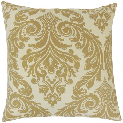 Jovita Damask Throw Pillow Color: Camel, Size: 18 x 18