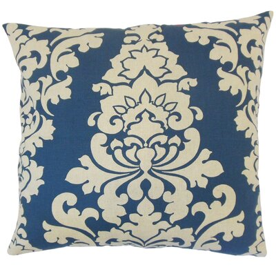 Wilona Damask Cotton Throw Pillow Cover Color: Indigo