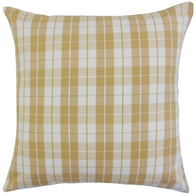 Joss Plaid Cotton Throw Pillow Color: Honey, Size: 22 x 22