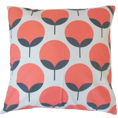 Utcha Cotton Throw Pillow Color: Salmon, Size: 18 x 18