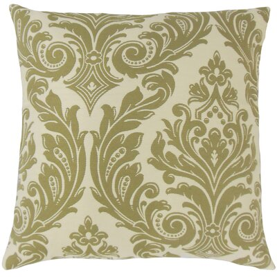 Jovita Damask Throw Pillow Color: Celery, Size: 24 x 24