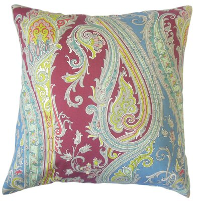 Efharis Cotton Throw Pillow Color: Crimson, Size: 18 x 18