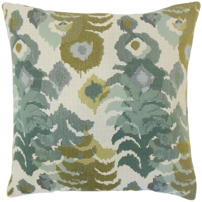 Henriette Ikat Cotton Throw Pillow Cover Color: Lagoon