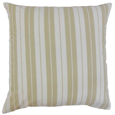 Henley Cotton Throw Pillow Color: Beige, Size: 18 x 18