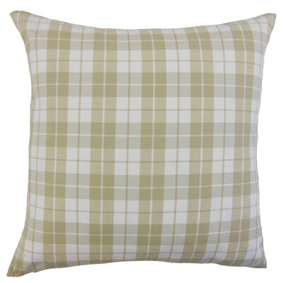 Joss Plaid Cotton Throw Pillow Color: Beige, Size: 18 x 18