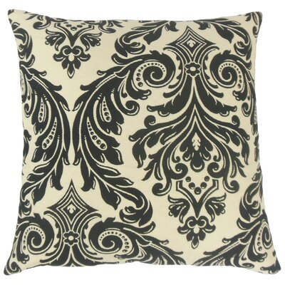 Jovita Damask Throw Pillow Color: Onyx, Size: 24 x 24