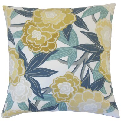 Iniabi Floral Cotton Throw Pillow Color: Dew, Size: 18 x 18